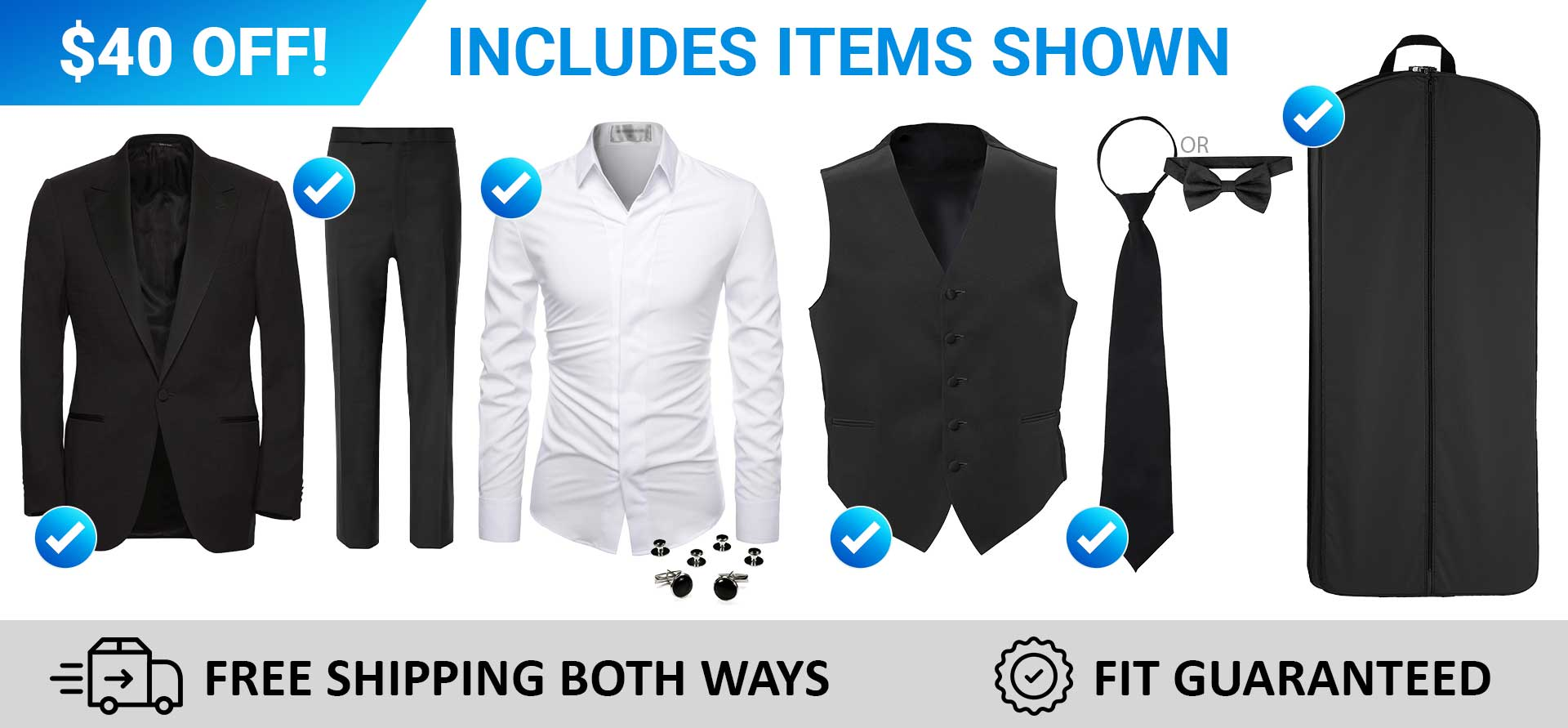 A tuxedo package includes a variety of accessories.
