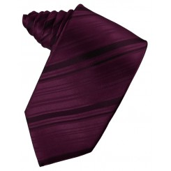 Berry Striped Satin Suit Tie