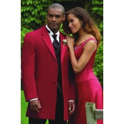 Montigo' 2-Button Notch Red Colored Tuxedo Jacket