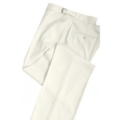 Ivory Slim-Fit Flat Front Tuxedo Pants