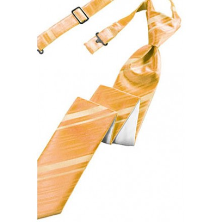 Apricot Striped Satin Skinny Tie