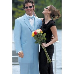 'Montigo' Light Blue 2-Button Notch Tuxedo Jacket