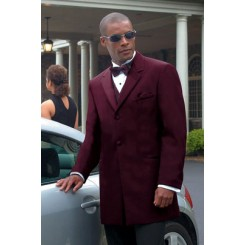 Montigo' 2-Button Notch Wine Colored Tuxedo Jacket