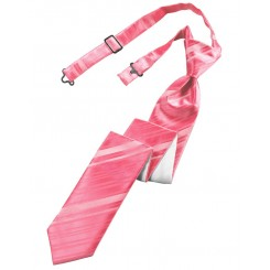 Bubblegum Striped Satin Skinny Tie