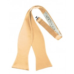Apricot Self-Tie Solid Satin Bowtie