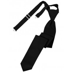 Black Solid Satin Skinny Tie