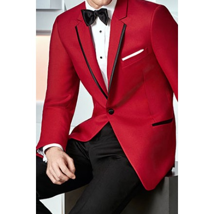 'Stingray' Red and Black 1-Button Notch Tuxedo Jacket by Ike Behar