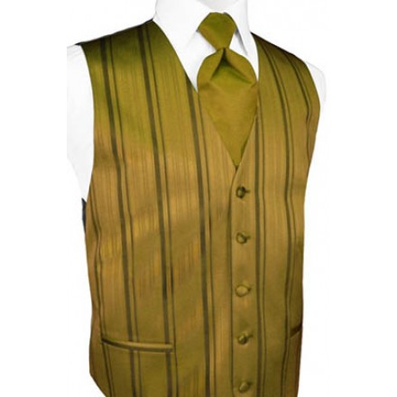New Gold Striped Satin Vest