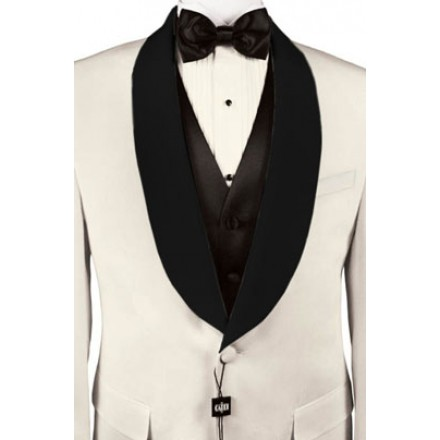 Park Ave' Custom Black Satin Shawl Lapels on Ivory Jacket by Cardi