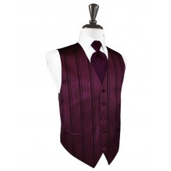 Berry Striped Satin Vest