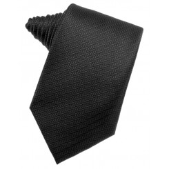 Black Herringbone Suit Tie