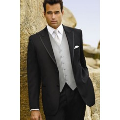 Black tuxedo jacket with 2-buttons and peak lapels.