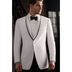 'Waverly' White Tuxedo Jacket by Ike Behar