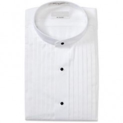 Mandarin Pleated White Tuxedo Shirt