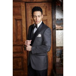 'Bradford' Charcoal w/ Black Shawl Lapels 1-Button Tuxedo Jacket