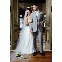 'Aspen' Heather Grey 2-Button Notch Wedding Suit Jacket