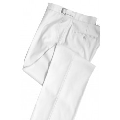 White Slim-Fit Flat Front Tuxedo Pants