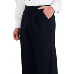 Midnight Navy Double Pleated Tuxedo Pants
