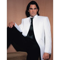 'Mirage' Tuxedo Jacket in White by Jean Yves