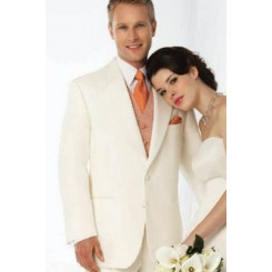 'Roma' Ivory 2-Button Notch Tuxedo Jacket by After Six