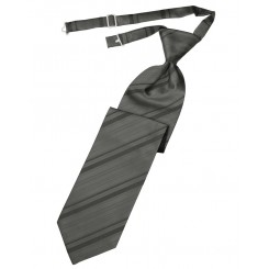 Charcoal Striped Satin Long Tie