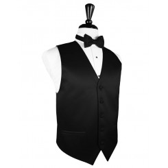 Black Solid Satin Vest