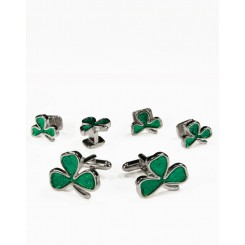 07 - Irish Shamrock in Silver Cufflink and Stud Set