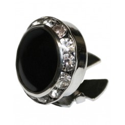 Rhinestone Black/Silver Button Cover
