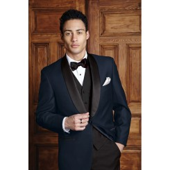 'Bradford' Navy w/ Black Shawl Lapels 1-Button Tuxedo Jacket