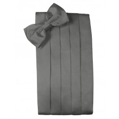Charcoal Solid Satin Cummerbund