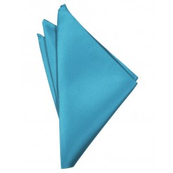 Turquoise Solid Satin Pocket Square