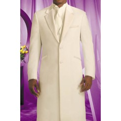 'Davnici XL' Extra-Long 2-Button Notch Ivory Jacket by Andrew Fezza