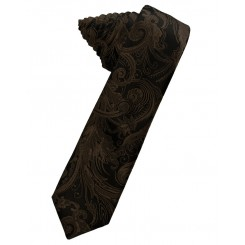 Chocolate Tapestry Skinny Suit Tie