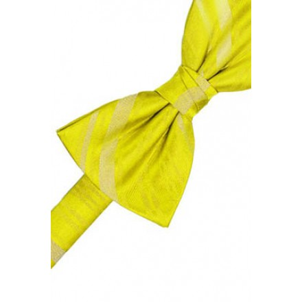 Lemon Striped Satin Bowtie