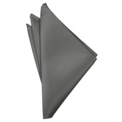Charcoal Solid Satin Pocket Square