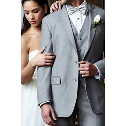 Aspen\' Heather Grey 2-Button Notch Wedding Suit Jacket