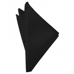 Black Solid Satin Pocket Square