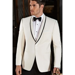 'Waverly' Ivory Tuxedo Jacket by Ike Behar