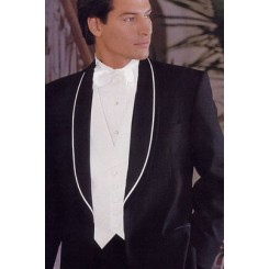 'Chicago BW' B&W Shawl Trim 1-Button Tuxedo Jacket by Private Label