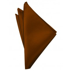 Cognac Solid Satin Pocket Square