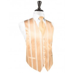 Apricot Striped Satin Vest