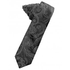 Charcoal Tapestry Skinny Suit Tie