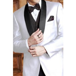 'Bradford' White w/ Black Shawl Lapels 1-Button Tuxedo Jacket