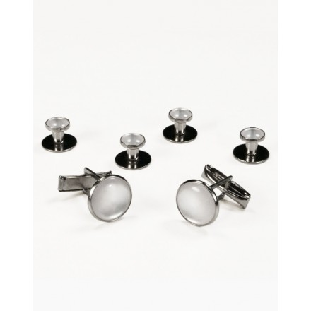 White on Silver Metal Studs and Cufflinks Set