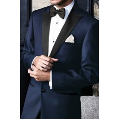 'Fitzgerald' Navy Blue w/ Black Lapels Tuxedo Jacket by Cardi