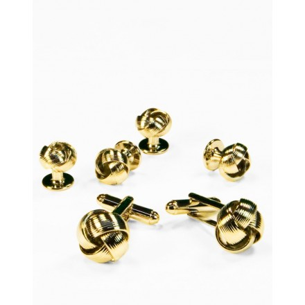 06 - Love Knot Cufflink and Stud set in Gold