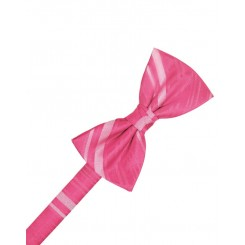 Bubblegum Striped Satin Bowtie