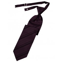 Berry Striped Satin Long Tie