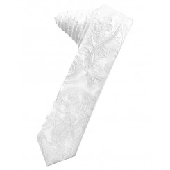 White Tapestry Skinny Suit Tie