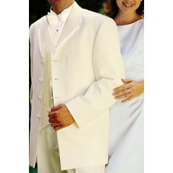 'Valencia' Ivory 4-Button Framed Edge Tuxedo Jacket by Oscar de la Renta